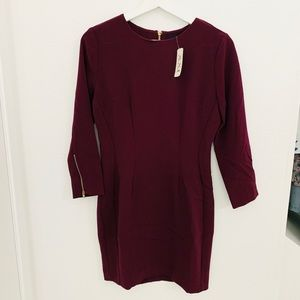 NWT Forever21 3/4 Sleeve Zip Up Back Dress